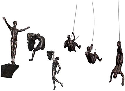 6x Large Bronze Climbing Abseiling Hanging Ornaments Figures Set of 6 Clime