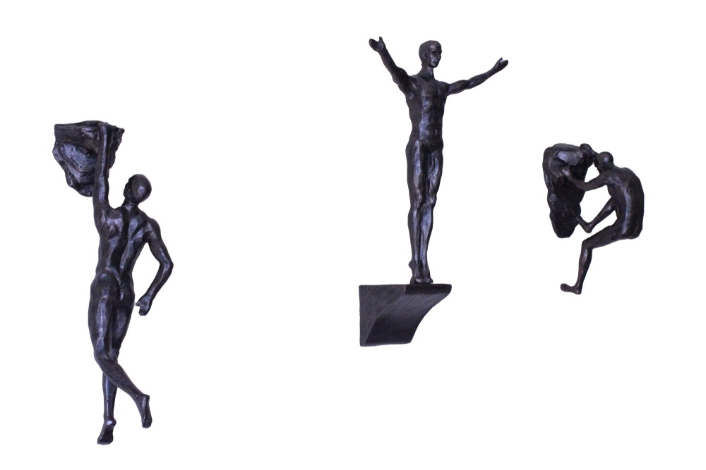 Rock Climber Trio Wall Hanging in Bronze Colour