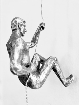 Antique Silver Colour - Rock Climbing Buddies - Left-handed climber + Bungee Jumping Statue.