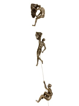 3x Rock Climber Figurines in Bronze Colour