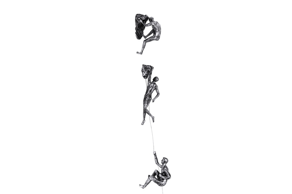 3x Rock Climber Figurines in Antique-Silver Colour