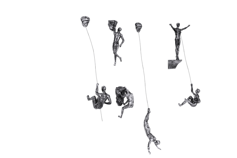 6x Large Antique-Silver Climbing Abseiling Hanging Ornaments Figures Set of