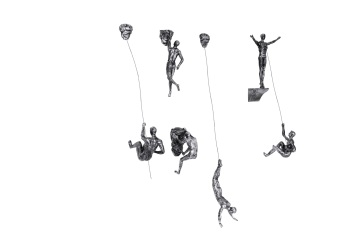 6x Large Antique-Silver Climbing Abseiling Hanging Ornaments Figures Set of 6 Climer Men