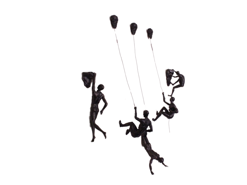 5x Large Antique-Silver Climbing Abseiling Hanging Ornaments Figures Set of