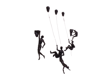 5x Large Antique-Silver Climbing Abseiling Hanging Ornaments Figures Set of 5 Climber Men