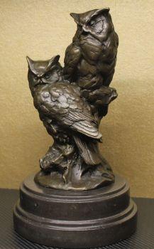 Pair of Bronze Owls