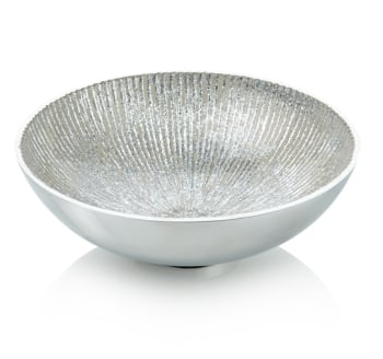 Round Bowl White and Silver