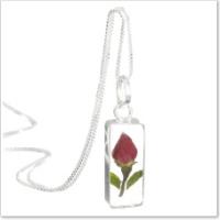real rosebud pendant
