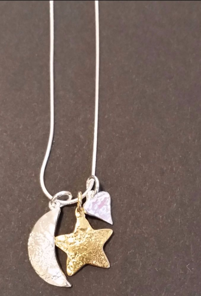 Love you to the moon and stars pendant