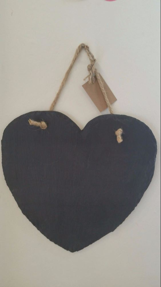 Welsh slate heart shaped memo board