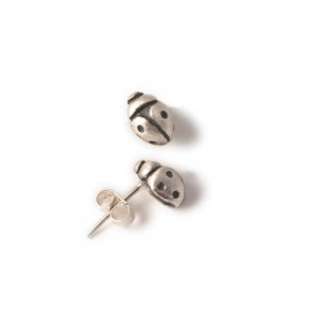 solid silver ladybird earrings