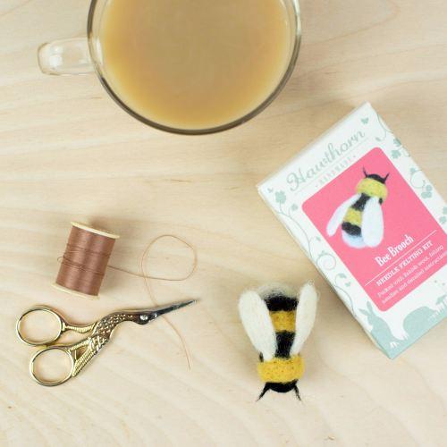 Hawthorne Handmade Needle felting Bee brooch