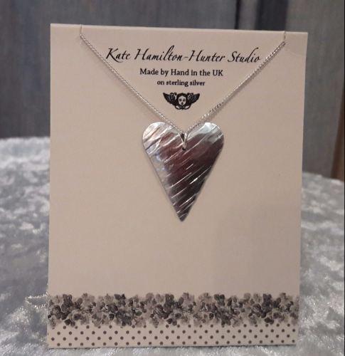 Recycled aluminium heart pendant