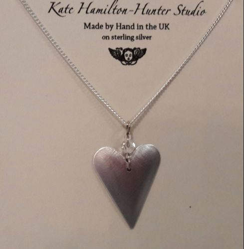 Recycled aluminium heart pendant with swarovksi crystal