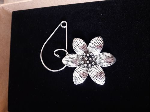 Silver plated flower brooch