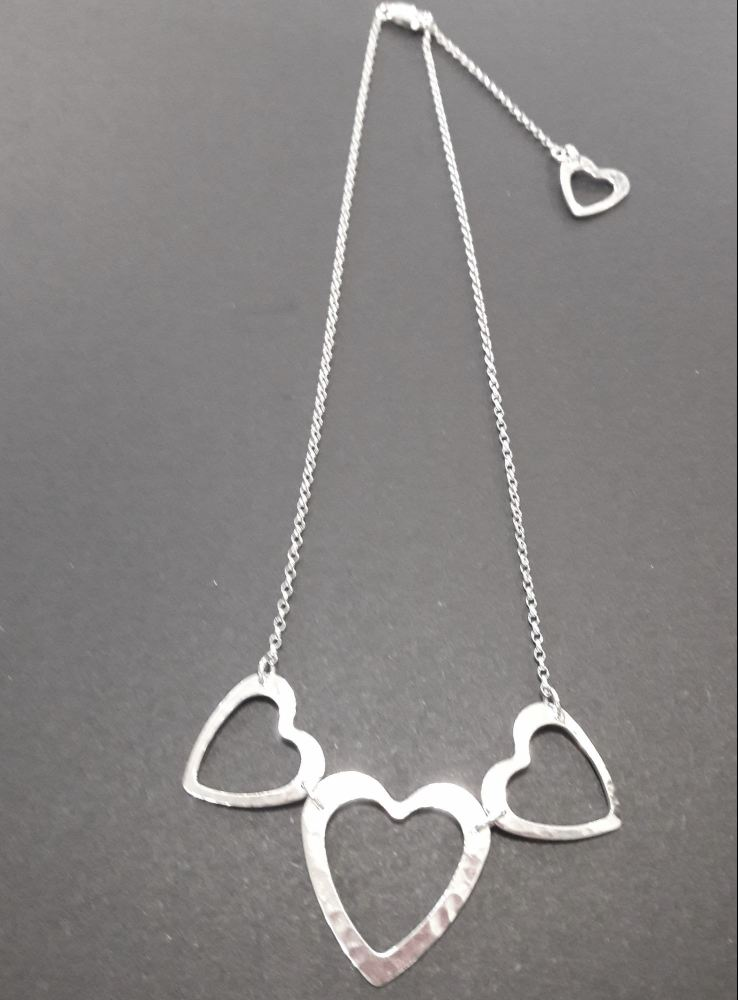 handmade silver heart necklace