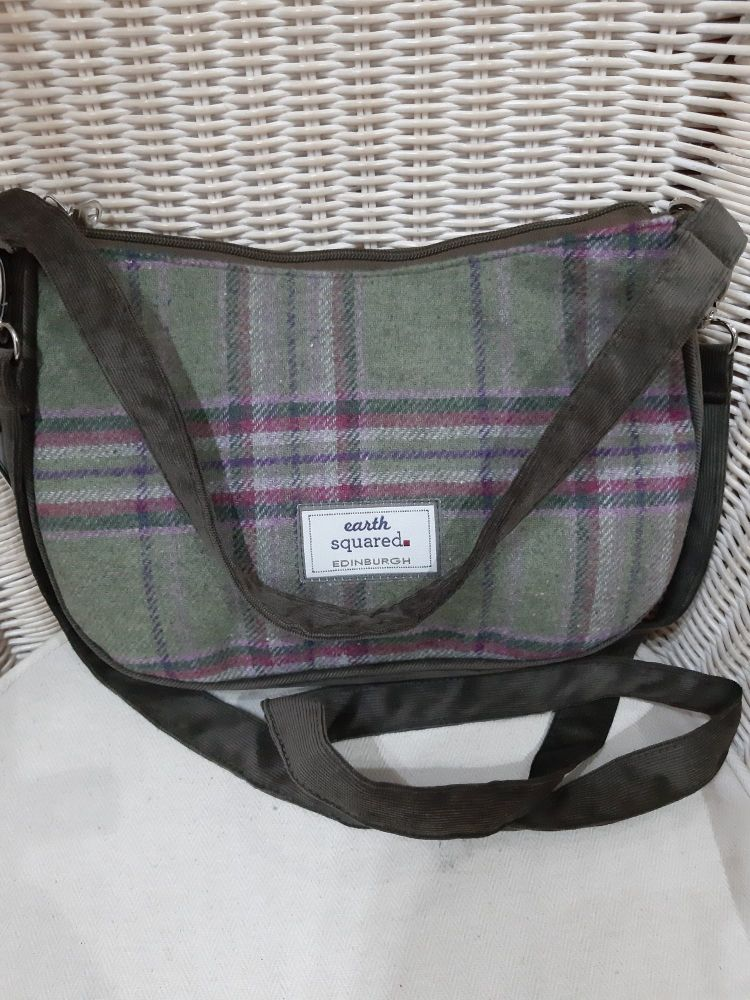 Tweed fairtrade Meghan bag in Moorland colours