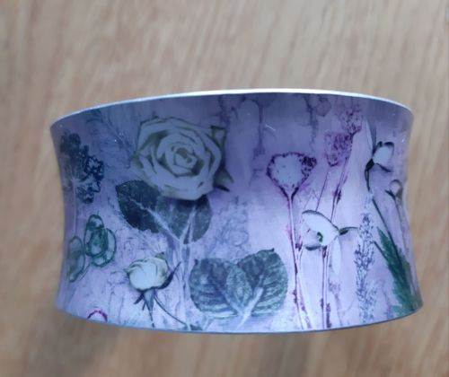 Aluminium cuff bracelet with botanical design
