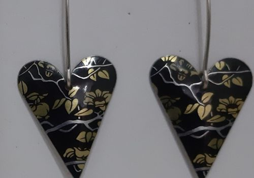 Black and gold heart earrings- The Tinsmiths