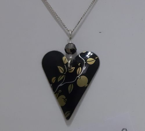 Black and gold heart pendant - The Tinsmiths