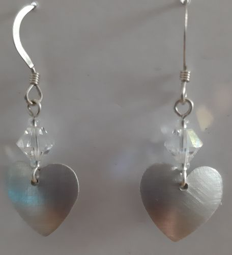 Brushed aluminium heart earrings