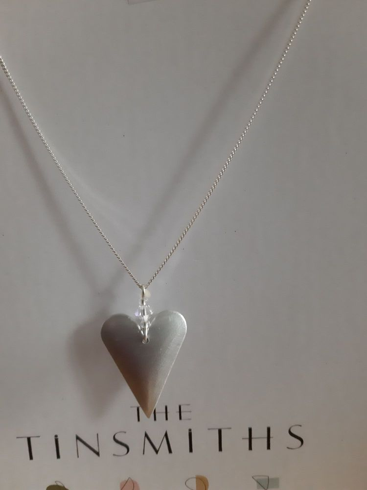 Recycled brushed aluminium heart pendant - med