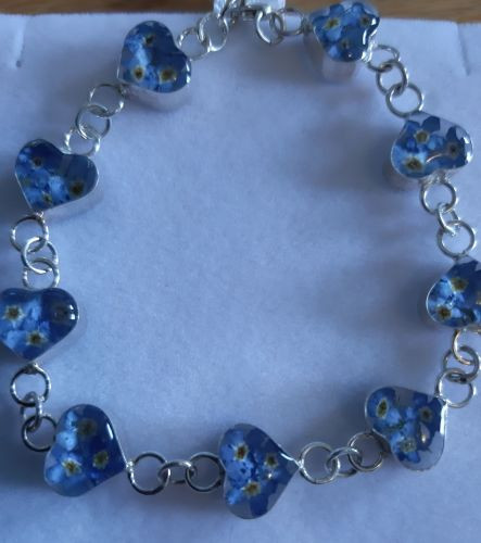 Forget me not heart bracelet