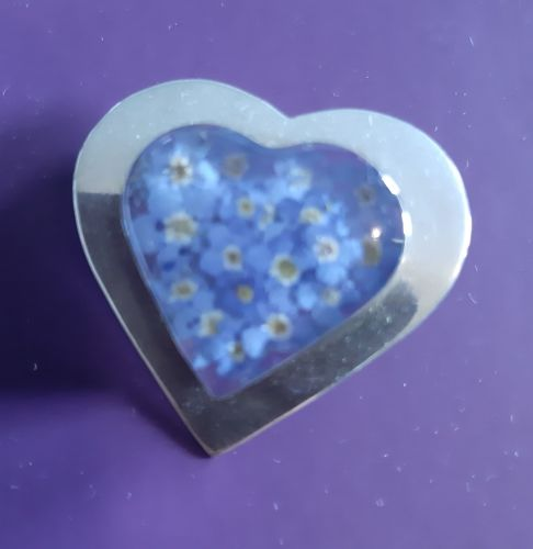 Silver and forget me not heart brooch