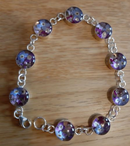Forget me not and violet  bracelet