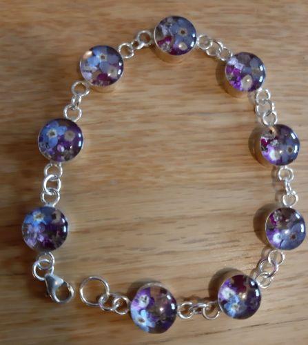 Forget me not and violet  bracelet