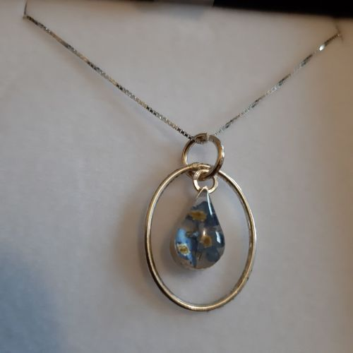 Forget me not teardrop pendant with silver surround