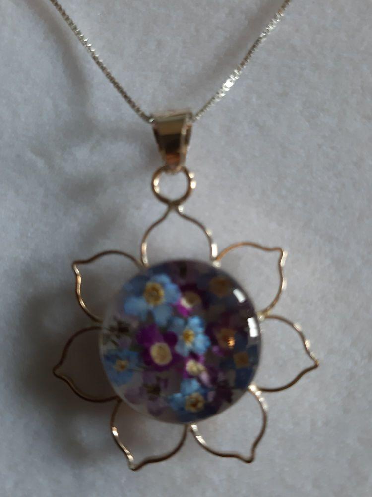 Purple haze lotus flower pendant