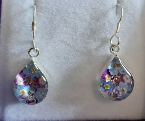Forget me not and violet teardrop earrings