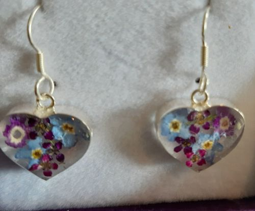 Forget me not and violet heart earrings