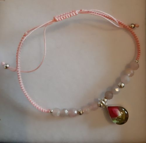 Rose quartz and rosebud bracelet