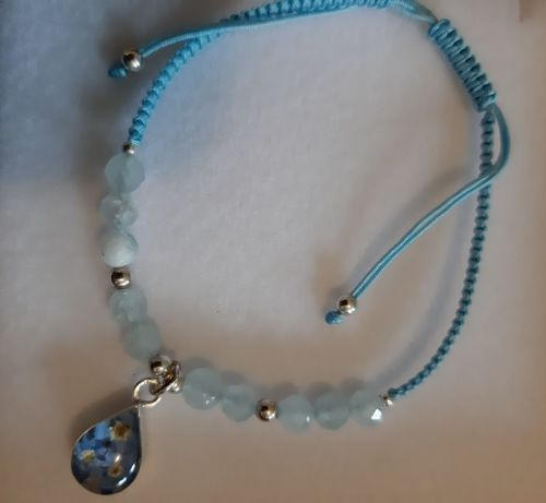 Aquamarine and forget me not bracelet