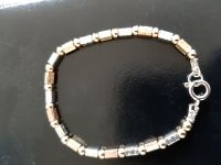 Silver with rose and yellow gold bracelet