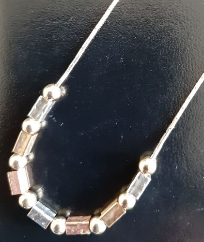 Silver with rose and yellow gold necklace