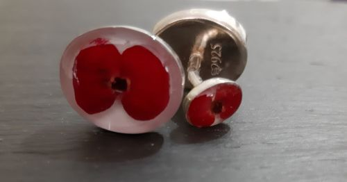 Silver cufflinks with real poppies