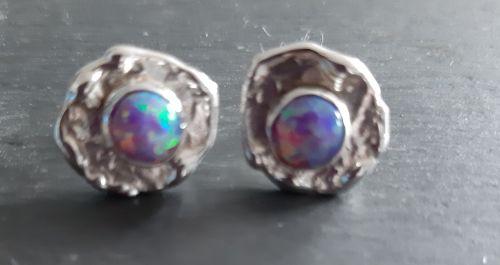 Purple opal and silver stud earrings