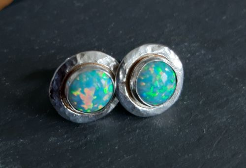 Green opal and silver stud earrings
