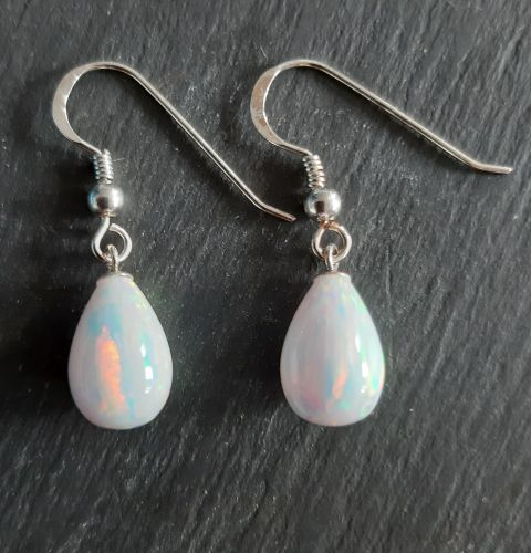 White opal and silver teardrop earrings
