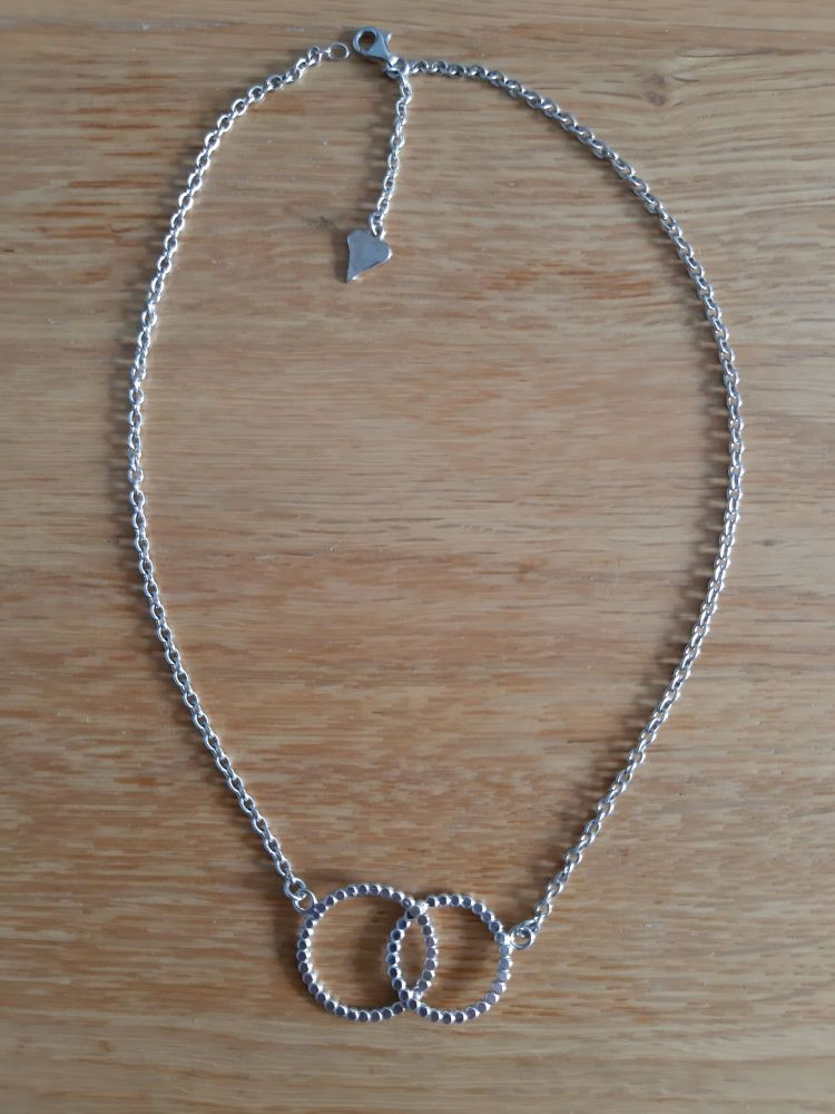 Silver double circle  dotty  necklace