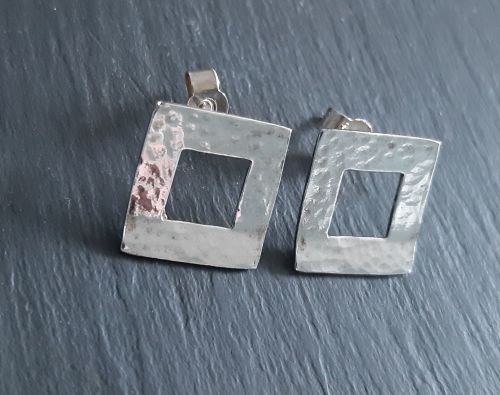 Open square stud silver earrings