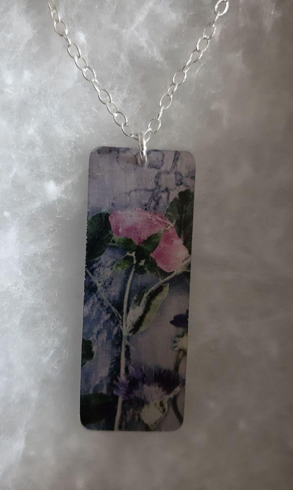 Aluminium pink rose pendant with botanical design