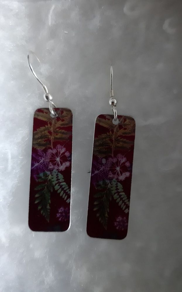 Aluminium red  fern rectangle earrings with botanical design