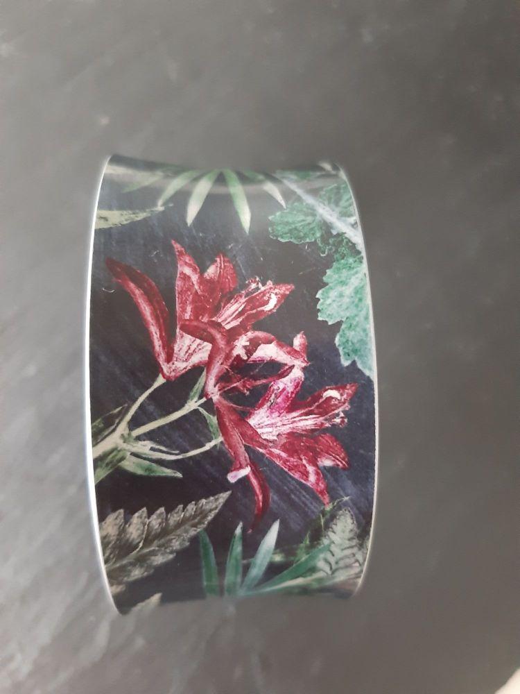 Aluminium cuff bracelet withLily  botanical design