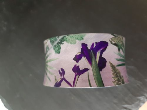 Aluminium cuff bracelet with Iris  botanical design