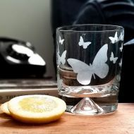 Etched Glass tumbler-Butterfly