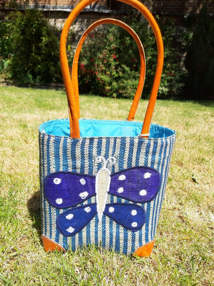Small blue butterfly basket